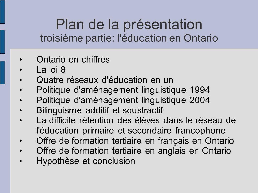 Plan de la présentation troisième partie: l éducation en Ontario Ontario en chiffres La loi 8 Quatre réseaux d éducation en un Politique d aménagement linguistique 1994 Politique d aménagement linguistique 2004 Bilinguisme additif et soustractif La difficile rétention des élèves dans le réseau de l éducation primaire et secondaire francophone Offre de formation tertiaire en français en Ontario Offre de formation tertiaire en anglais en Ontario Hypothèse et conclusion