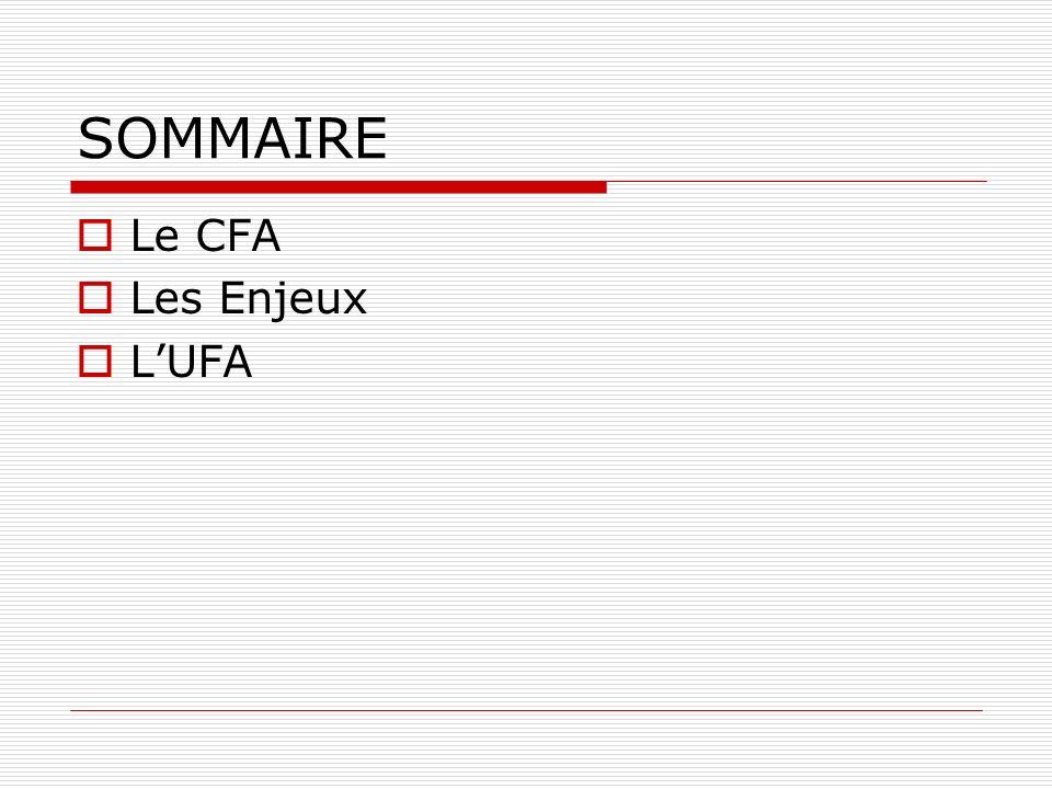 SOMMAIRE Le CFA Les Enjeux LUFA