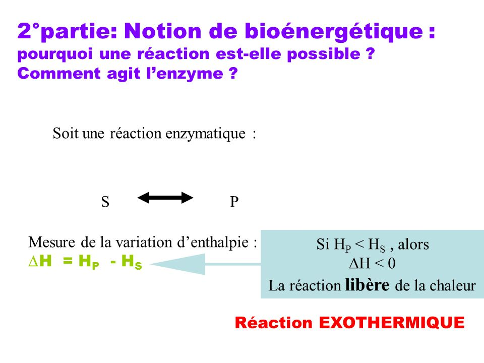 2°partie: Notion de bioénergétique : pourquoi une réaction est-elle possible ? Comment agit lenzyme ? Soit une réaction enzymatique : SP Mesure de la