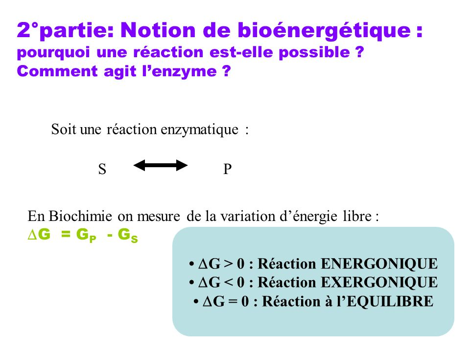2°partie: Notion de bioénergétique : pourquoi une réaction est-elle possible ? Comment agit lenzyme ? Soit une réaction enzymatique : SP En Biochimie