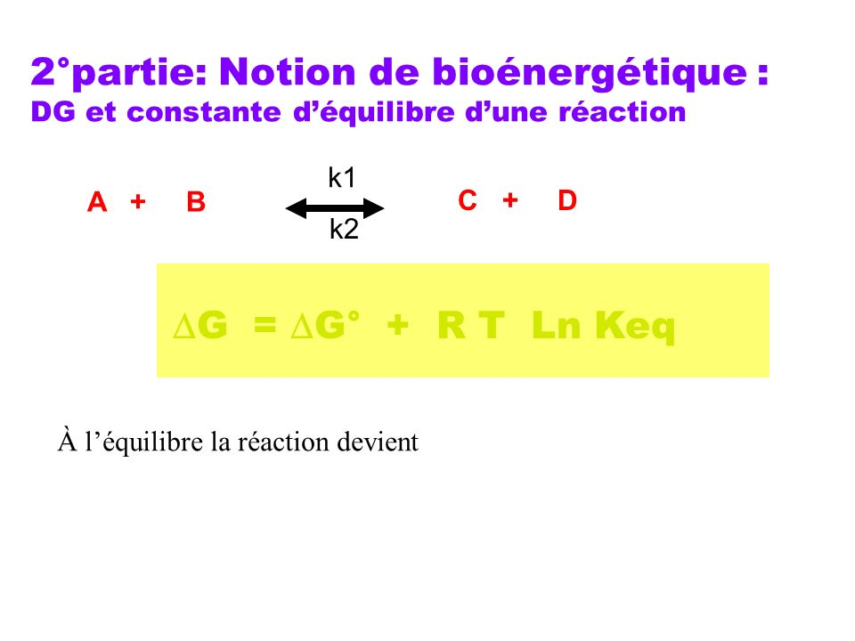 2°partie: Notion de bioénergétique : DG et constante déquilibre dune réaction G = G° + R T Ln Keq A + B C + D k1 k2 À léquilibre la réaction devient