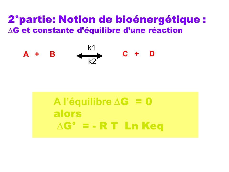 2°partie: Notion de bioénergétique : G et constante déquilibre dune réaction A léquilibre G = 0 alors G° = - R T Ln Keq A + B C + D k1 k2