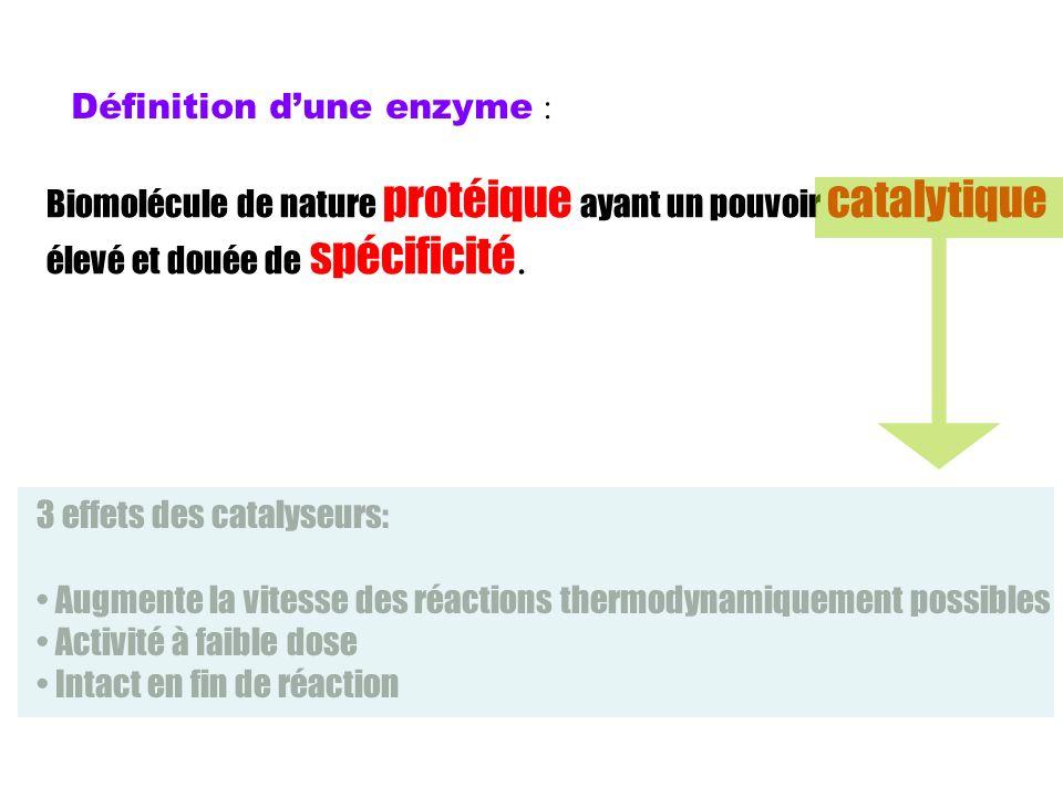 Définition dune enzyme : Biomolécule de nature protéique ayant un pouvoir catalytique élevé et douée de spécificité. 3 effets des catalyseurs: Augment