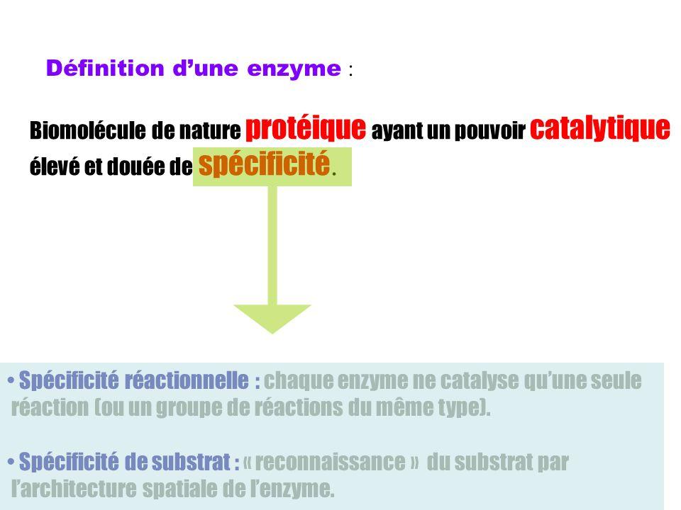 Définition dune enzyme : Biomolécule de nature protéique ayant un pouvoir catalytique élevé et douée de spécificité. Spécificité réactionnelle : chaqu