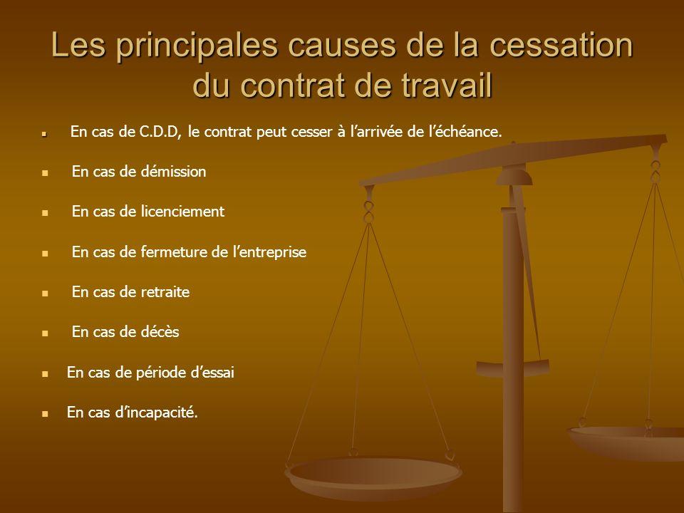 Les causes dextinction communes aux CDD et aux CDI 1- La nullité du contrat: Cette nullité peut se traduire pour le non respect des conditions de fond et de forme dun contrat.