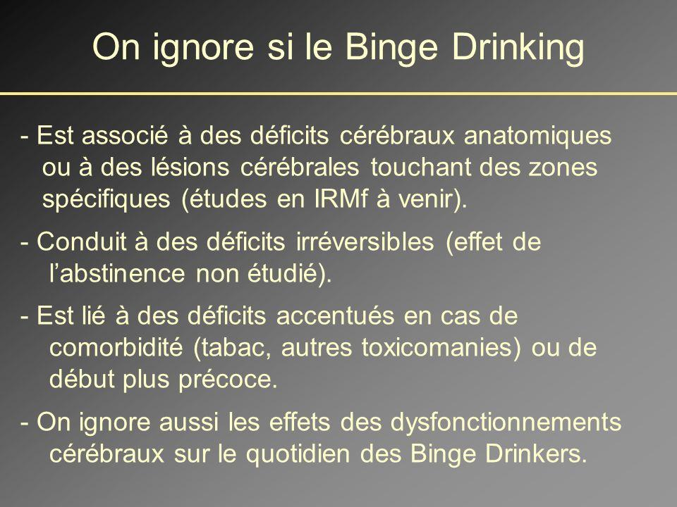 On sait désormais que le Binge Drinking - Conduit à moyen terme à des déficits cérébraux fonctionnels (non liés à lalcoolisation aigue).