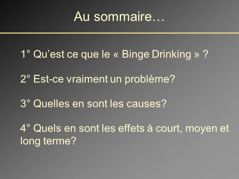 Au sommaire… 1° Quest ce que le « Binge Drinking » .