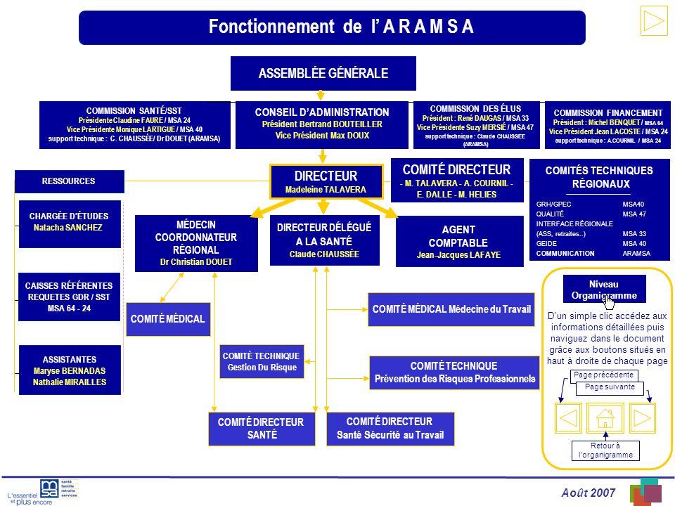 Août 2007 Fonctionnement de l A R A M S A AGENT COMPTABLE Jean-Jacques LAFAYE DIRECTEUR DÉLÉGUÉ A LA SANTÉ Claude CHAUSSÉE MÉDECIN COORDONNATEUR RÉGIO