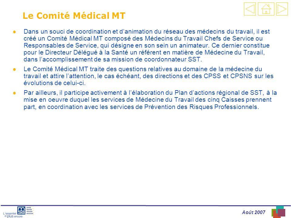 Août 2007 Le Comité Médical MT l Dans un souci de coordination et danimation du réseau des médecins du travail, il est créé un Comité Médical MT composé des Médecins du Travail Chefs de Service ou Responsables de Service, qui désigne en son sein un animateur.