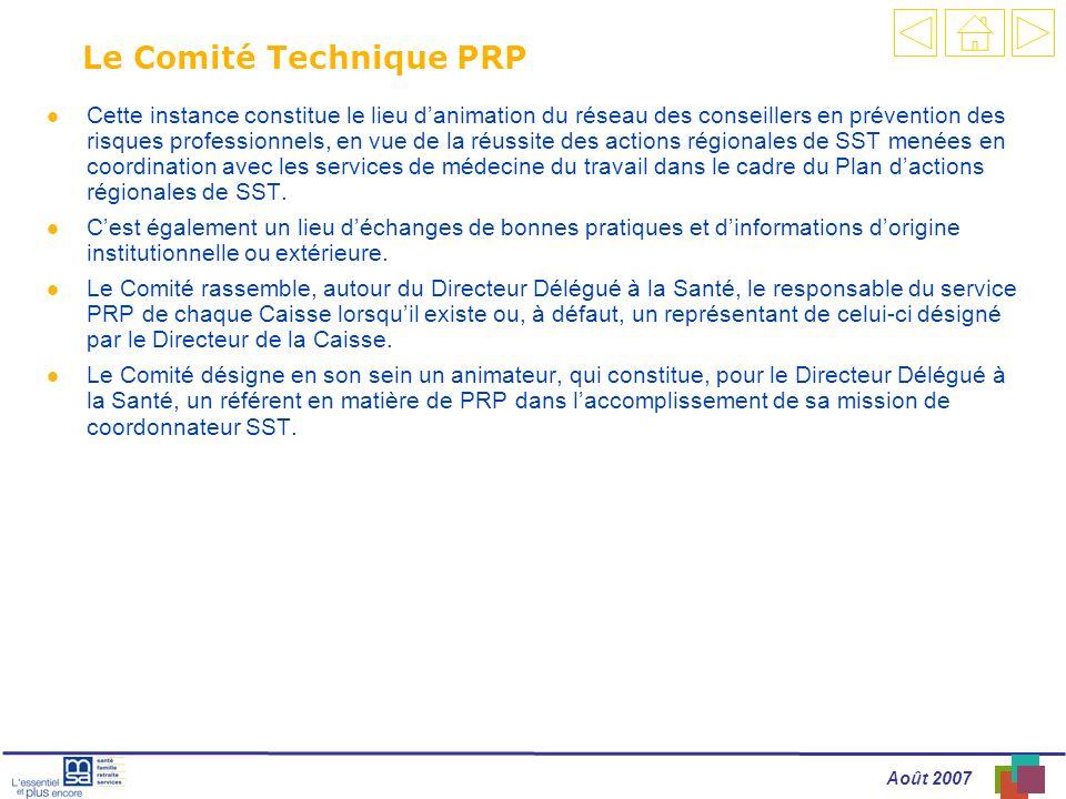 Août 2007 Le Comité Technique PRP l Cette instance constitue le lieu danimation du réseau des conseillers en prévention des risques professionnels, en vue de la réussite des actions régionales de SST menées en coordination avec les services de médecine du travail dans le cadre du Plan dactions régionales de SST.