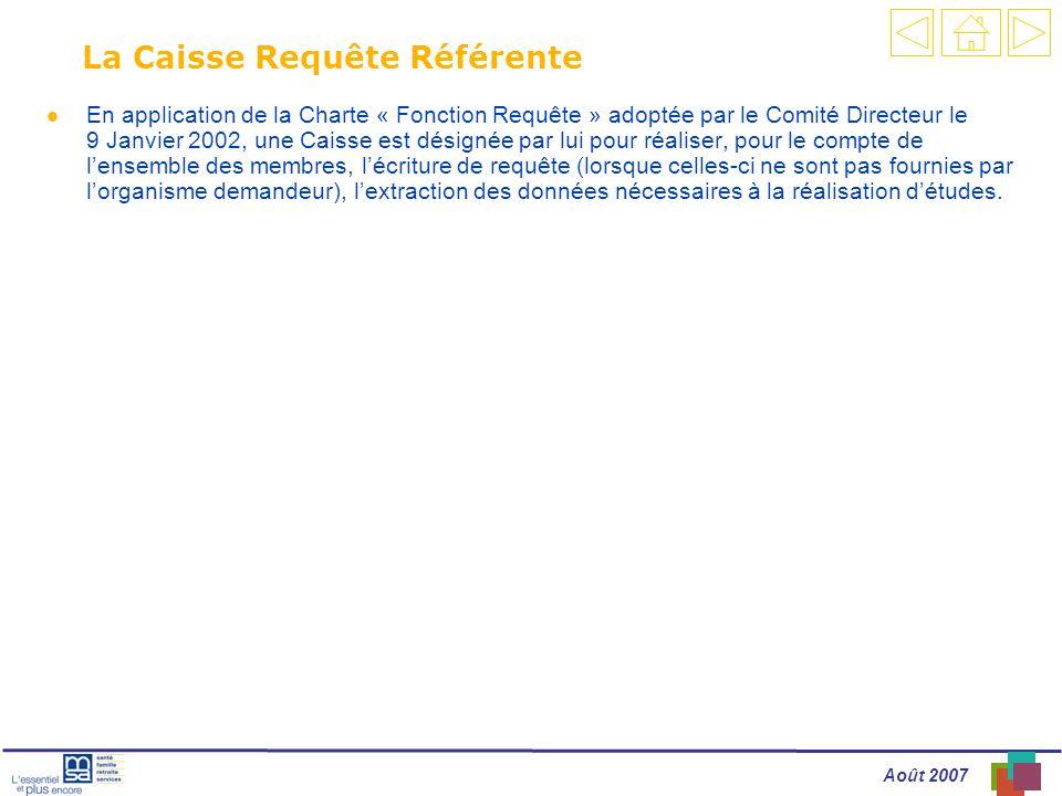 Août 2007 La Caisse Requête Référente l En application de la Charte « Fonction Requête » adoptée par le Comité Directeur le 9 Janvier 2002, une Caisse est désignée par lui pour réaliser, pour le compte de lensemble des membres, lécriture de requête (lorsque celles-ci ne sont pas fournies par lorganisme demandeur), lextraction des données nécessaires à la réalisation détudes.