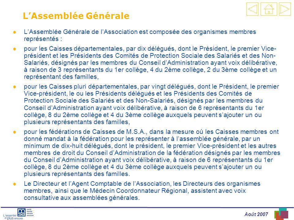 Août 2007 ASSEMBLÉE GÉNÉRALE LAssemblée Générale l LAssemblée Générale de lAssociation est composée des organismes membres représentés : l pour les Ca