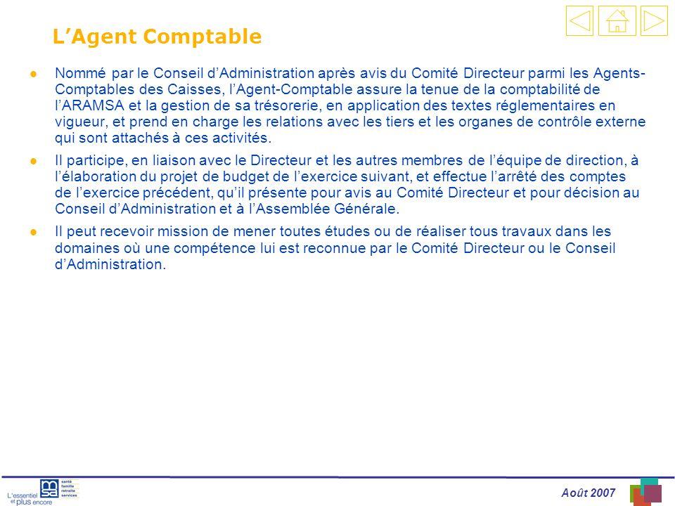 Août 2007 LAgent Comptable l Nommé par le Conseil dAdministration après avis du Comité Directeur parmi les Agents- Comptables des Caisses, lAgent-Comp
