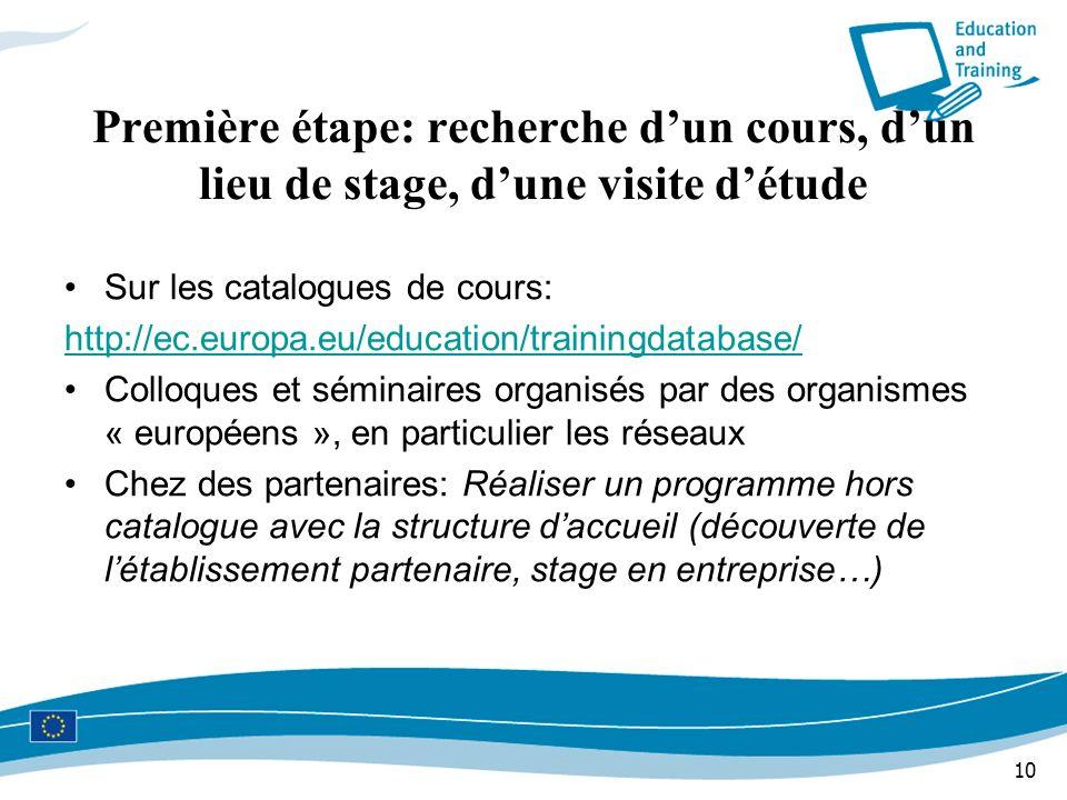 10 Première étape: recherche dun cours, dun lieu de stage, dune visite détude Sur les catalogues de cours: http://ec.europa.eu/education/trainingdatab
