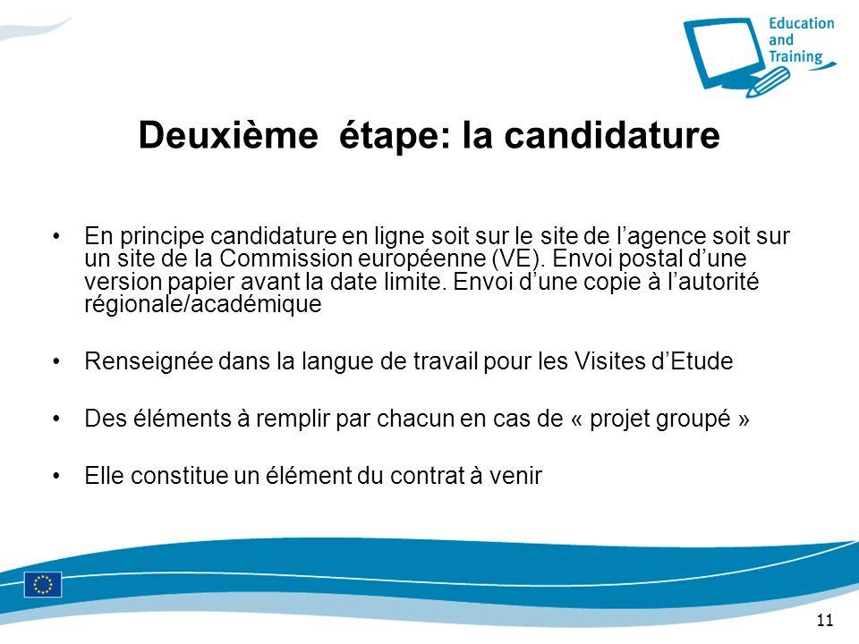 11 Deuxième étape: la candidature En principe candidature en ligne soit sur le site de lagence soit sur un site de la Commission européenne (VE). Envo