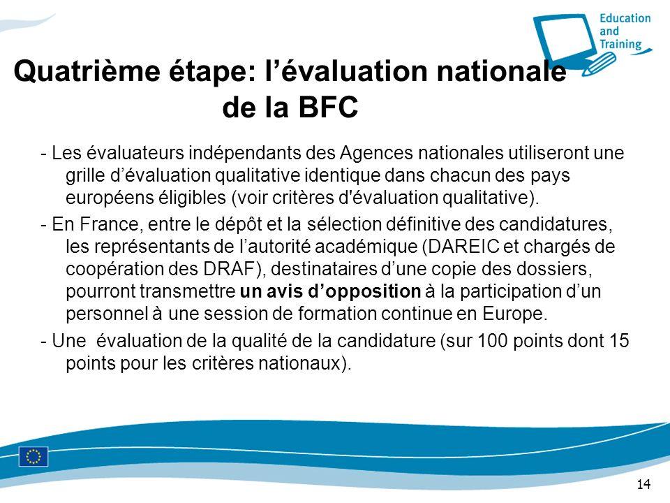 14 Quatrième étape: lévaluation nationale de la BFC - Les évaluateurs indépendants des Agences nationales utiliseront une grille dévaluation qualitati