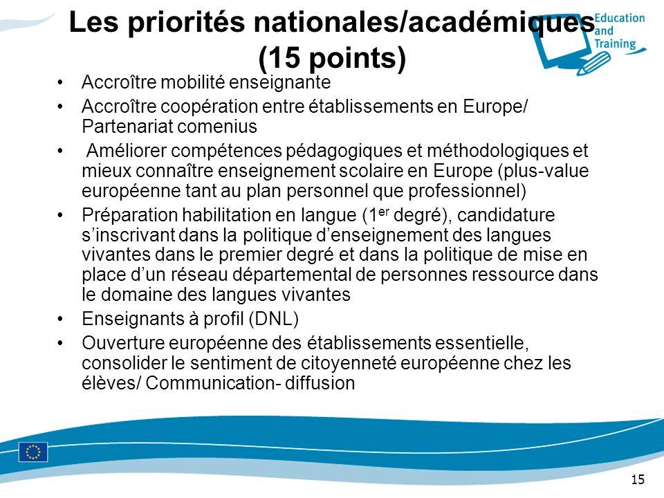 15 Les priorités nationales/académiques (15 points) Accroître mobilité enseignante Accroître coopération entre établissements en Europe/ Partenariat c