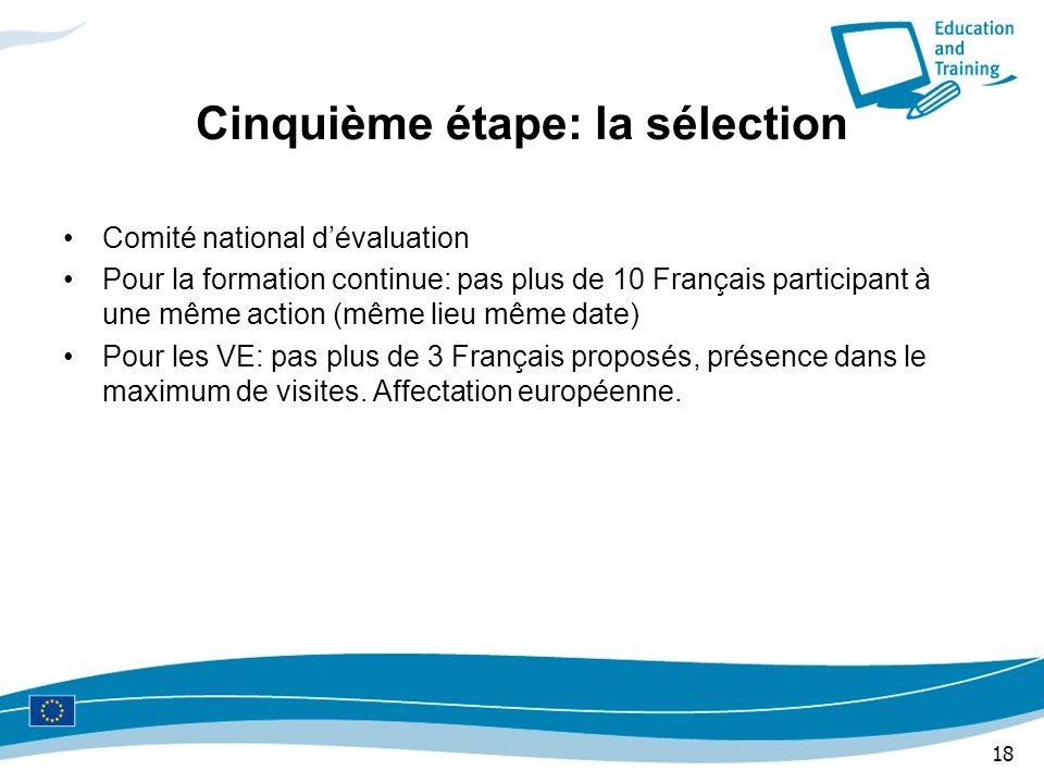 18 Cinquième étape: la sélection Comité national dévaluation Pour la formation continue: pas plus de 10 Français participant à une même action (même l