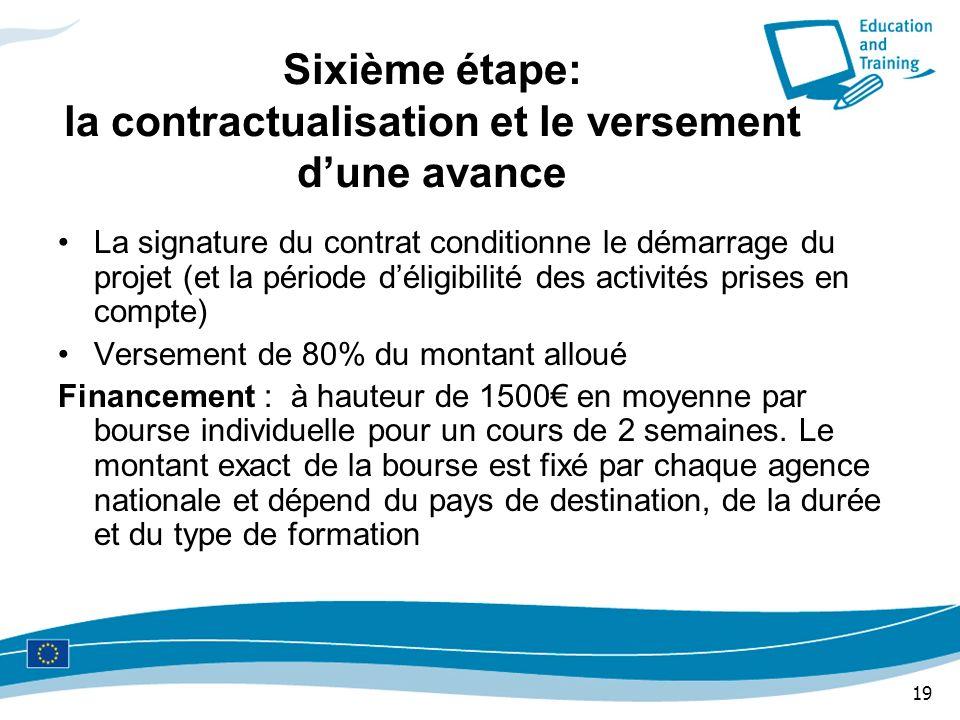 19 Sixième étape: la contractualisation et le versement dune avance La signature du contrat conditionne le démarrage du projet (et la période déligibi