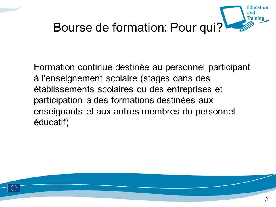 2 Bourse de formation: Pour qui? Formation continue destinée au personnel participant à lenseignement scolaire (stages dans des établissements scolair