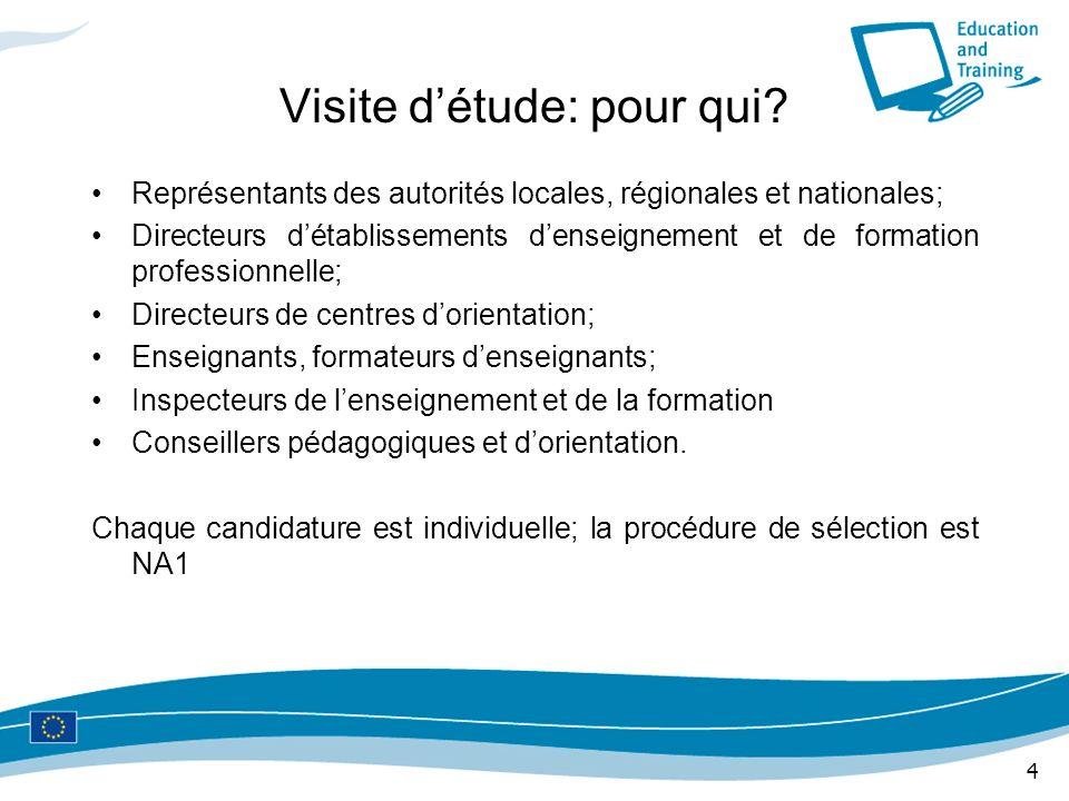 4 Visite détude: pour qui? Représentants des autorités locales, régionales et nationales; Directeurs détablissements denseignement et de formation pro
