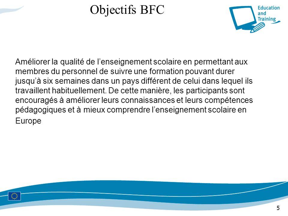 5 Objectifs BFC Améliorer la qualité de lenseignement scolaire en permettant aux membres du personnel de suivre une formation pouvant durer jusquà six