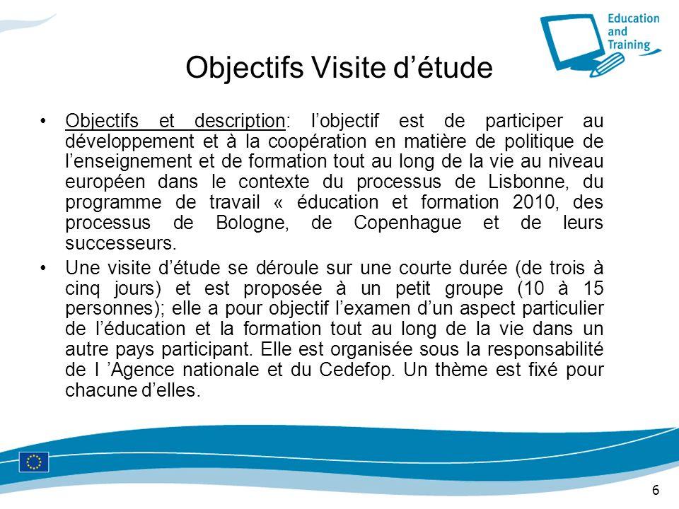 6 Objectifs Visite détude Objectifs et description: lobjectif est de participer au développement et à la coopération en matière de politique de lensei