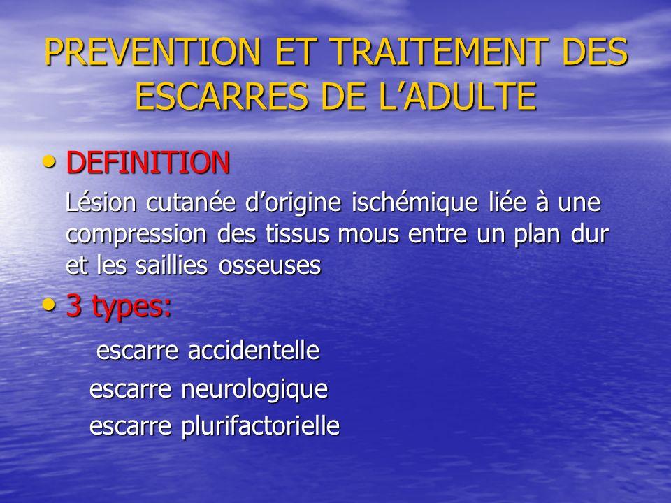 PREVENTION ET TRAITEMENT DES ESCARRES DE LADULTE DEFINITION DEFINITION Lésion cutanée dorigine ischémique liée à une compression des tissus mous entre