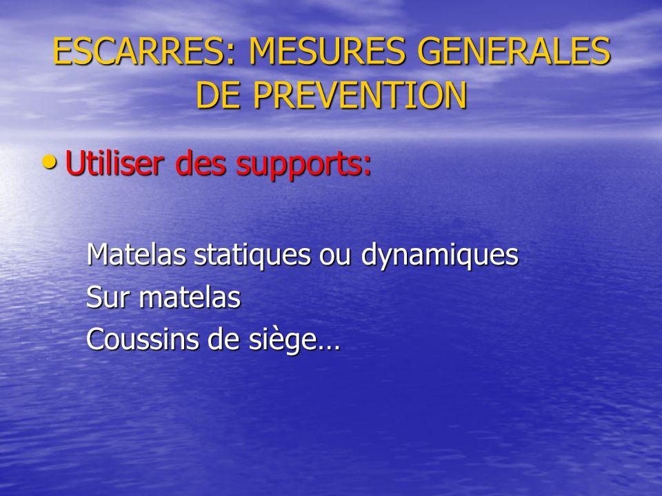 ESCARRES: MESURES GENERALES DE PREVENTION Utiliser des supports: Utiliser des supports: Matelas statiques ou dynamiques Matelas statiques ou dynamique