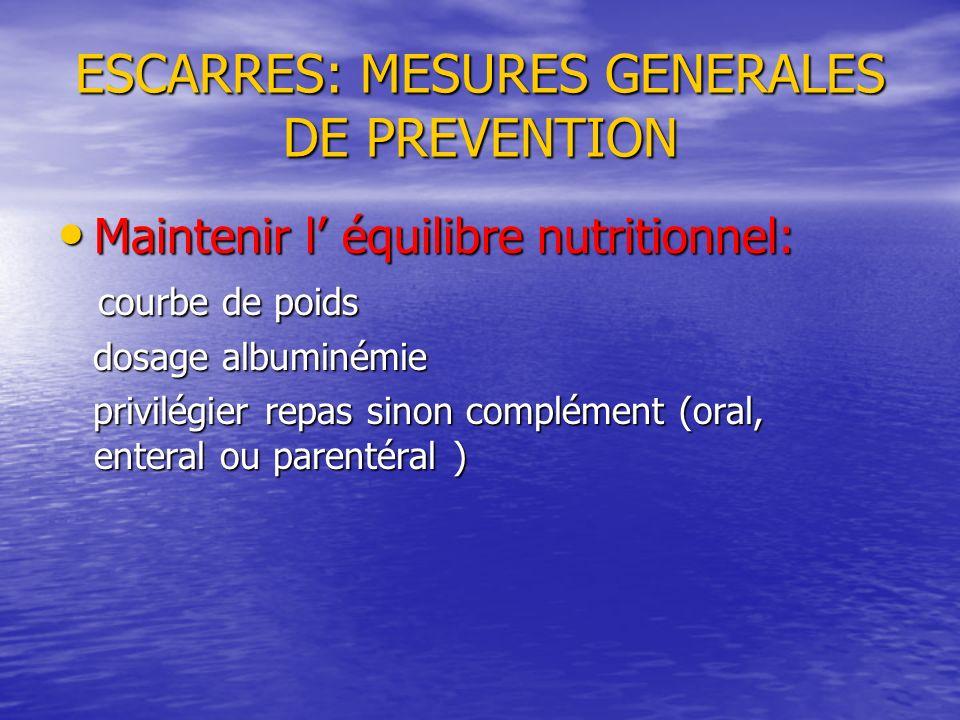 ESCARRES: MESURES GENERALES DE PREVENTION Maintenir l équilibre nutritionnel: Maintenir l équilibre nutritionnel: courbe de poids courbe de poids dosa