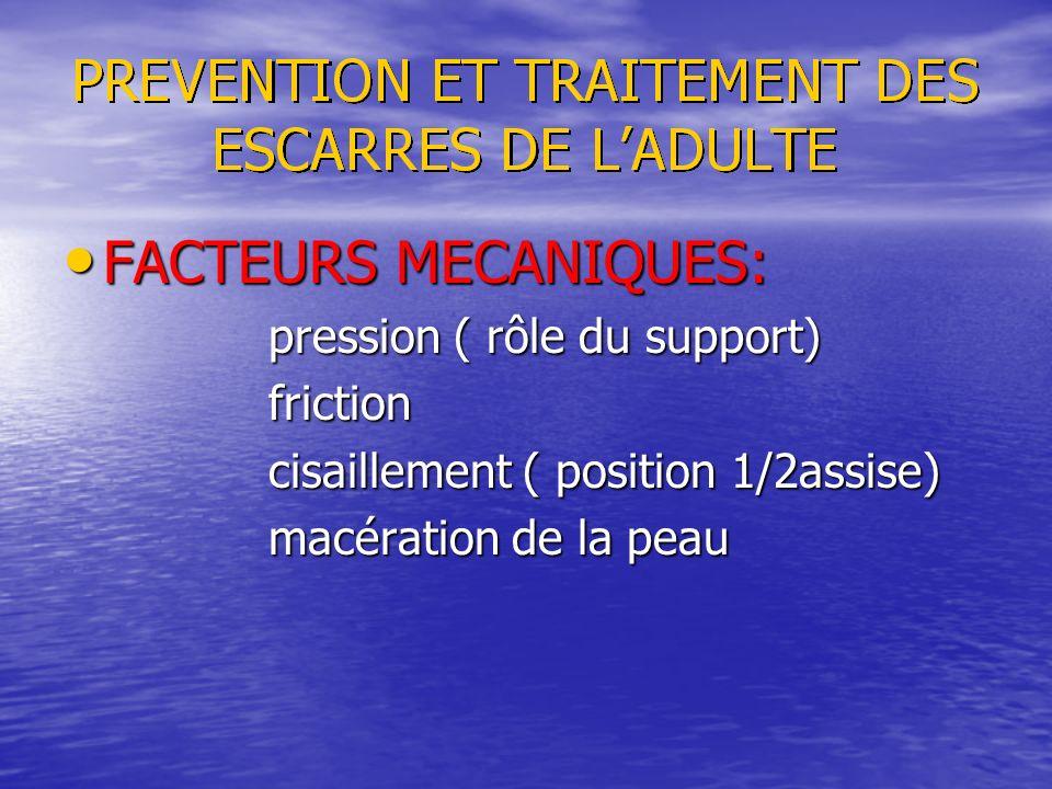 FACTEURS MECANIQUES: FACTEURS MECANIQUES: pression ( rôle du support) pression ( rôle du support) friction friction cisaillement ( position 1/2assise)