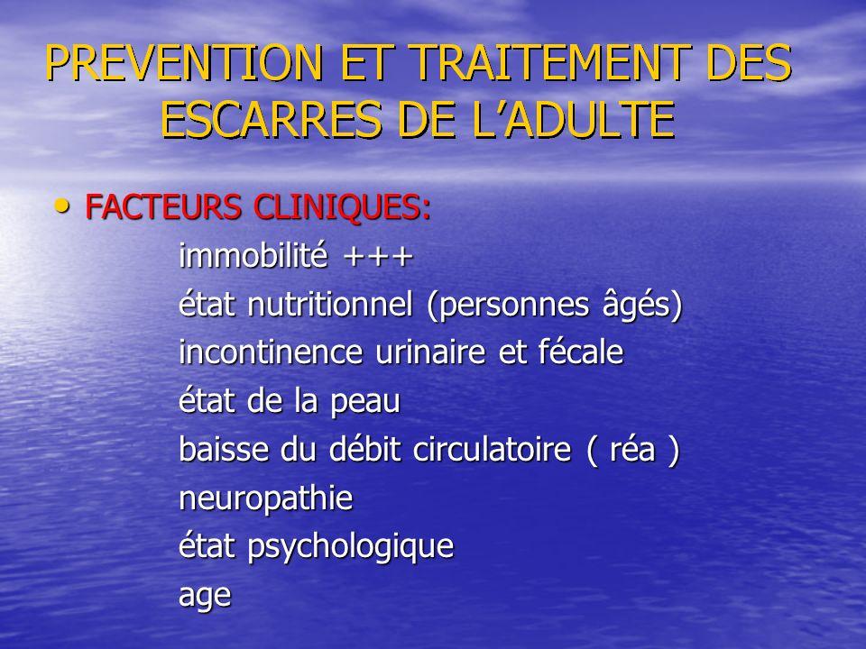 FACTEURS CLINIQUES: FACTEURS CLINIQUES: immobilité +++ immobilité +++ état nutritionnel (personnes âgés) état nutritionnel (personnes âgés) incontinen
