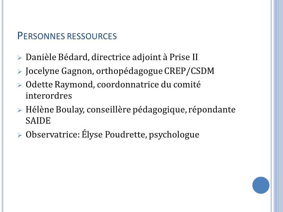 P ERSONNES RESSOURCES Danièle Bédard, directrice adjoint à Prise II Jocelyne Gagnon, orthopédagogue CREP/CSDM Odette Raymond, coordonnatrice du comité