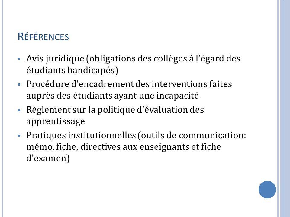 R ÉFÉRENCES Avis juridique (obligations des collèges à légard des étudiants handicapés) Procédure dencadrement des interventions faites auprès des étu