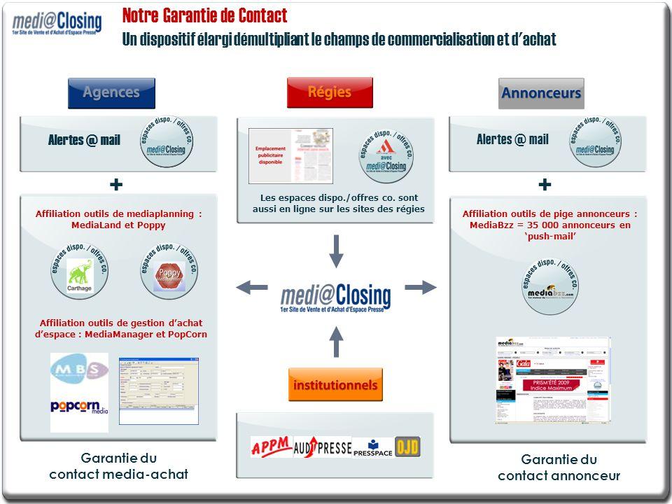 Notre Garantie de Contact Un dispositif élargi démultipliant le champs de commercialisation et d'achat Garantie du contact annonceur Garantie du conta