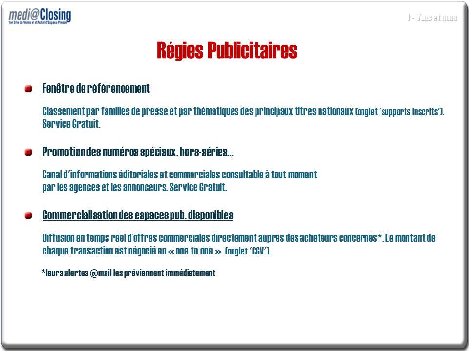 Fenêtre de référencement Classement par familles de presse et par thématiques des principaux titres nationaux (onglet 'supports inscrits'). Service Gr
