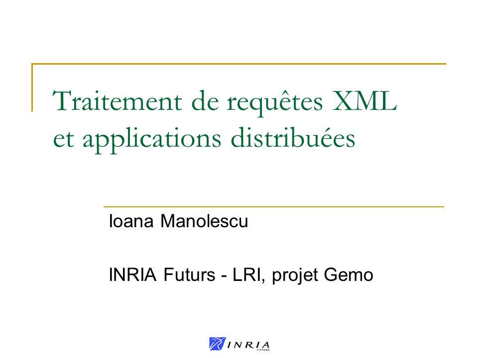 Traitement de requêtes XML et applications distribuées Ioana Manolescu INRIA Futurs - LRI, projet Gemo
