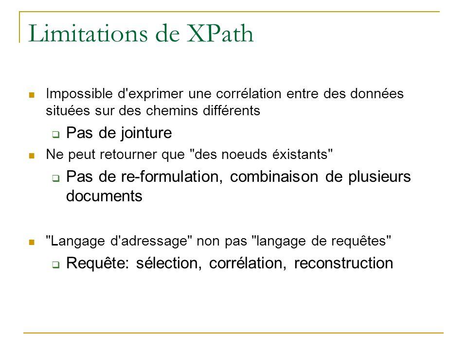 Limitations de XPath Impossible d'exprimer une corrélation entre des données situées sur des chemins différents Pas de jointure Ne peut retourner que