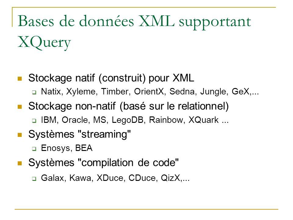 Bases de données XML supportant XQuery Stockage natif (construit) pour XML Natix, Xyleme, Timber, OrientX, Sedna, Jungle, GeX,... Stockage non-natif (