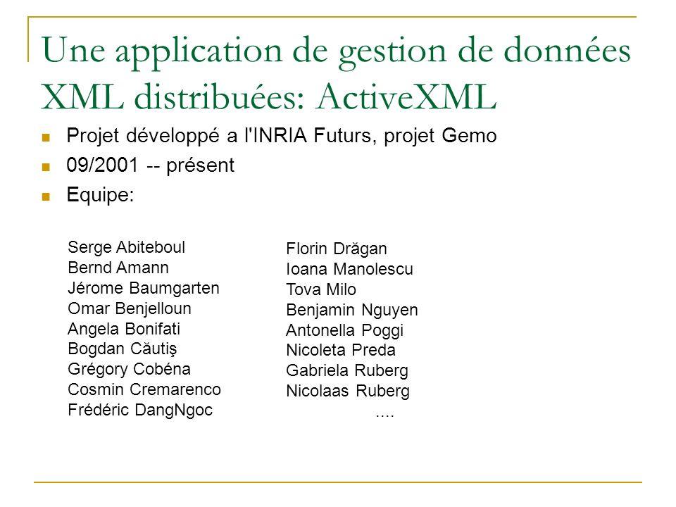 Une application de gestion de donn é es XML distribuées: ActiveXML Projet développé a l'INRIA Futurs, projet Gemo 09/2001 -- présent Equipe: Serge Abi