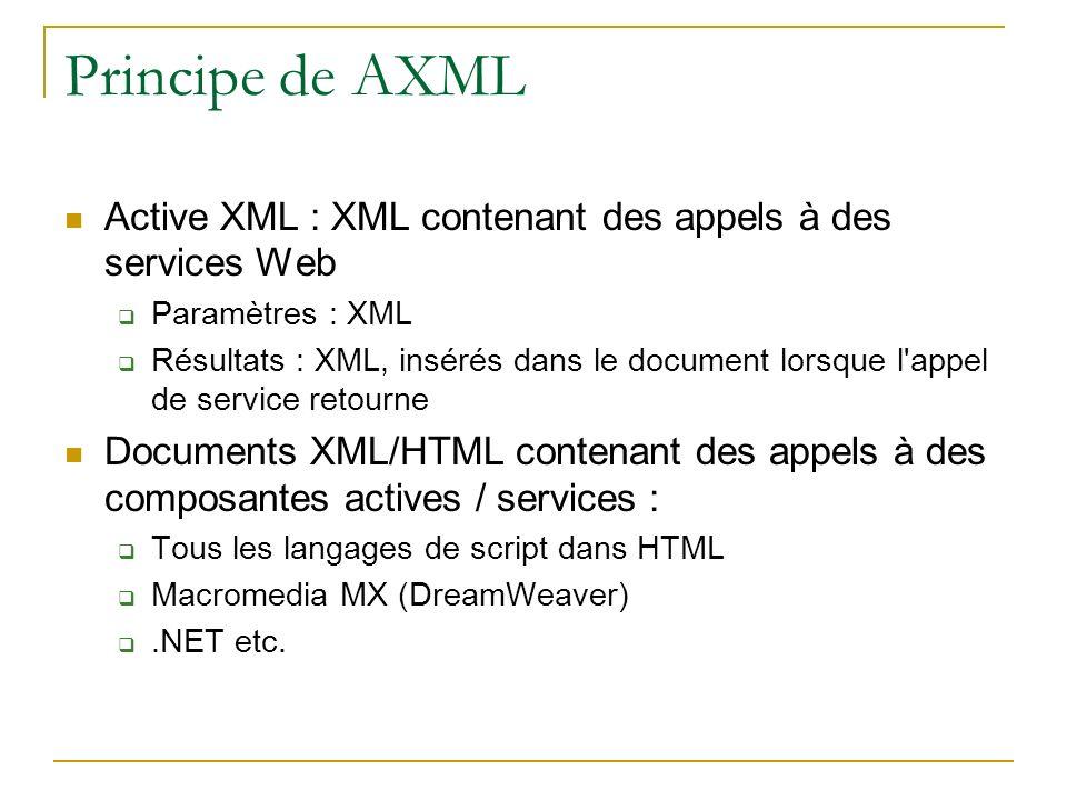 Principe de AXML Active XML : XML contenant des appels à des services Web Paramètres : XML Résultats : XML, insérés dans le document lorsque l appel de service retourne Documents XML/HTML contenant des appels à des composantes actives / services : Tous les langages de script dans HTML Macromedia MX (DreamWeaver).NET etc.