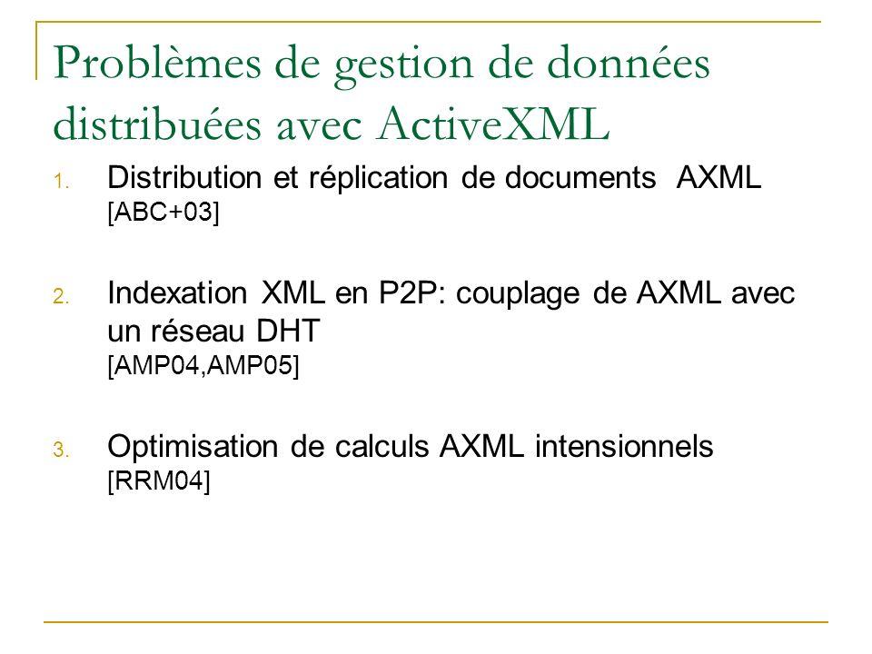 Problèmes de gestion de données distribuées avec ActiveXML 1. Distribution et réplication de documents AXML [ABC+03] 2. Indexation XML en P2P: couplag