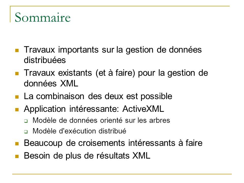 Sommaire Travaux importants sur la gestion de données distribuées Travaux existants (et à faire) pour la gestion de données XML La combinaison des deux est possible Application intéressante: ActiveXML Modèle de données orienté sur les arbres Modèle d exécution distribué Beaucoup de croisements intéressants à faire Besoin de plus de résultats XML
