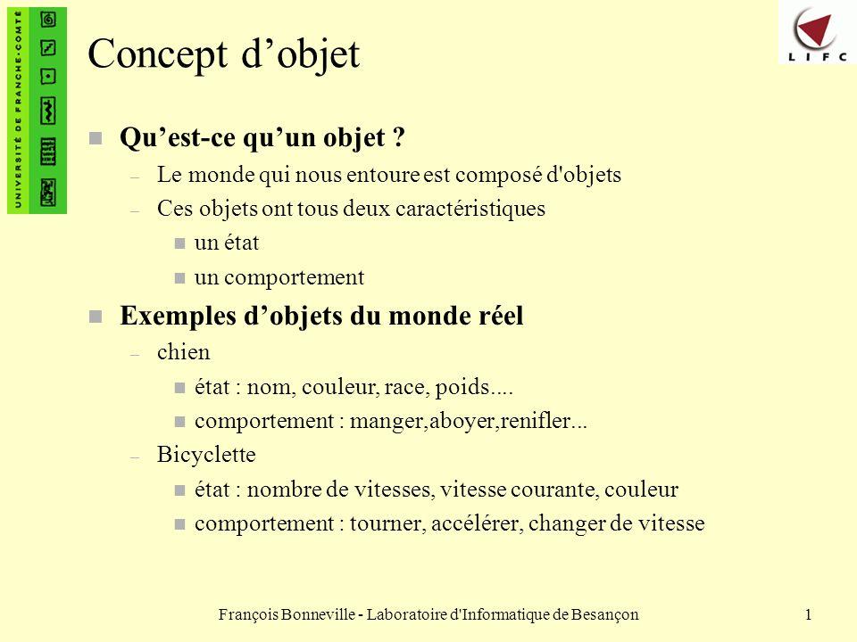 François Bonneville - Laboratoire d'Informatique de Besançon1 Concept dobjet n Quest-ce quun objet ? – Le monde qui nous entoure est composé d'objets