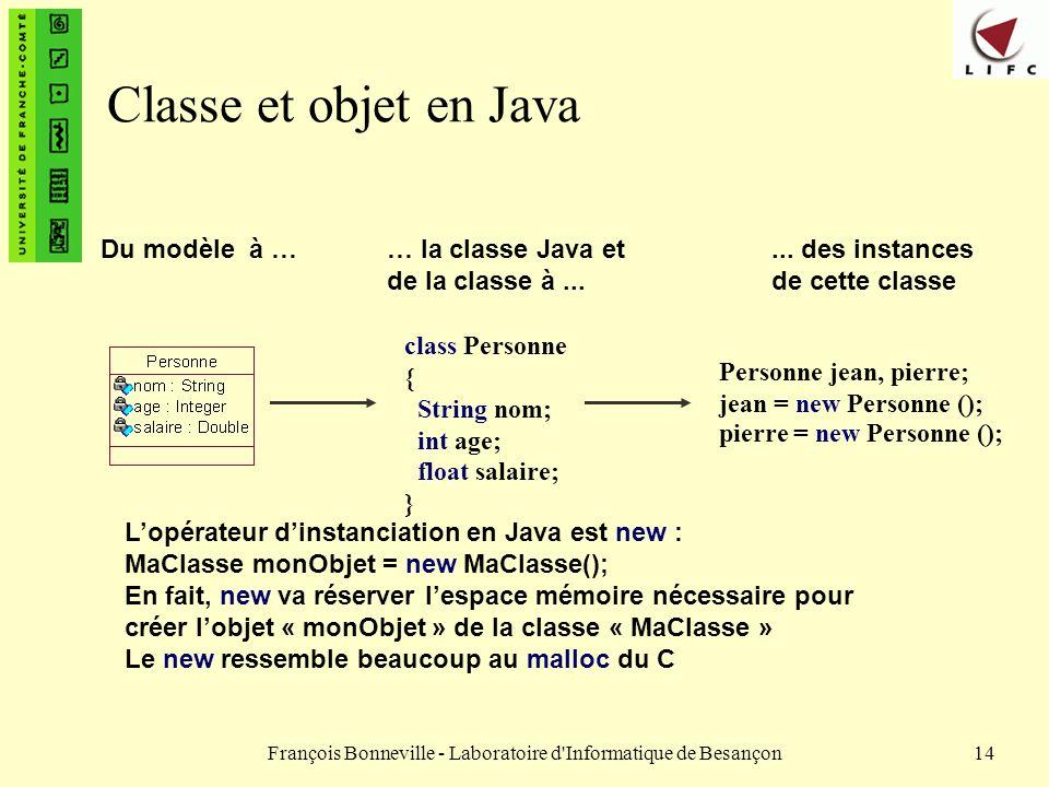 François Bonneville - Laboratoire d'Informatique de Besançon14 Classe et objet en Java Du modèle à … class Personne { String nom; int age; float salai
