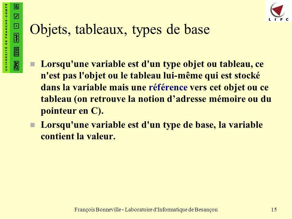 François Bonneville - Laboratoire d'Informatique de Besançon15 Objets, tableaux, types de base n Lorsqu'une variable est d'un type objet ou tableau, c