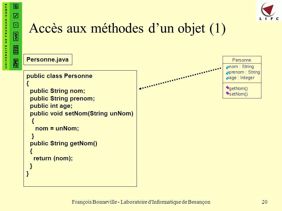 François Bonneville - Laboratoire d'Informatique de Besançon20 Accès aux méthodes dun objet (1) public class Personne { public String nom; public Stri