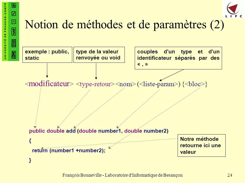 François Bonneville - Laboratoire d'Informatique de Besançon24 Notion de méthodes et de paramètres (2) ( ) { } public double add (double number1, doub