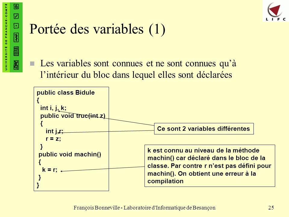 François Bonneville - Laboratoire d'Informatique de Besançon25 Portée des variables (1) n Les variables sont connues et ne sont connues quà lintérieur