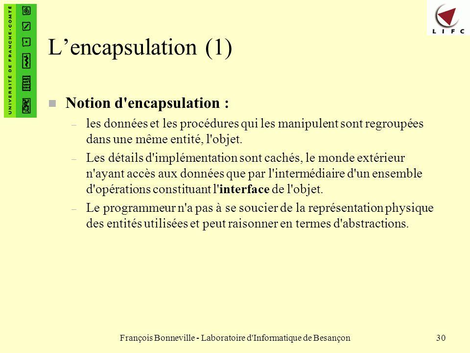 François Bonneville - Laboratoire d'Informatique de Besançon30 Lencapsulation (1) n Notion d'encapsulation : – les données et les procédures qui les m